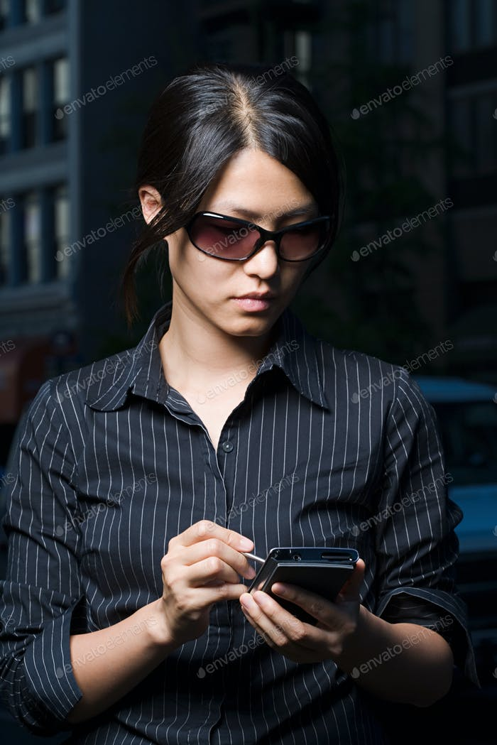 Woman using handheld computer