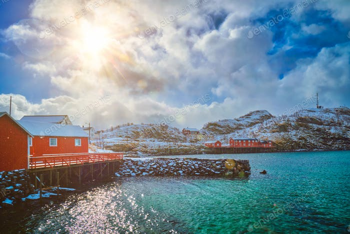 Red rorbu houses, Lofoten islands, Norway