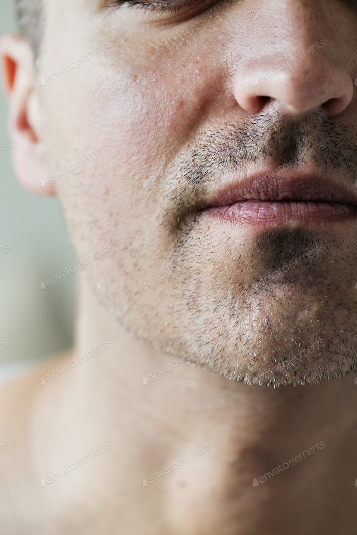 Portrait of white man closeup on mouth