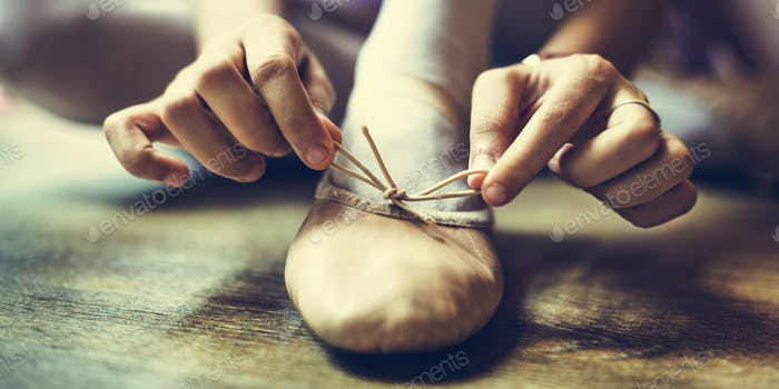 Ballerina Girl Tie Shoes Concept