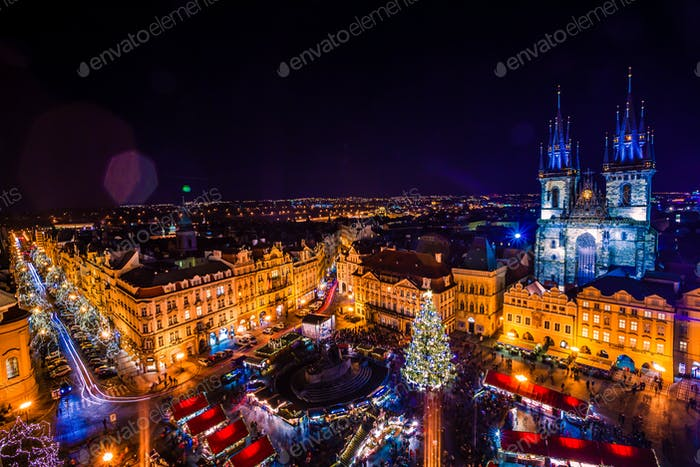 PRAGUE, CZECH REPUBLIC - DECEMBER 22, 2015: Old Town Square in Prague, Czech republic