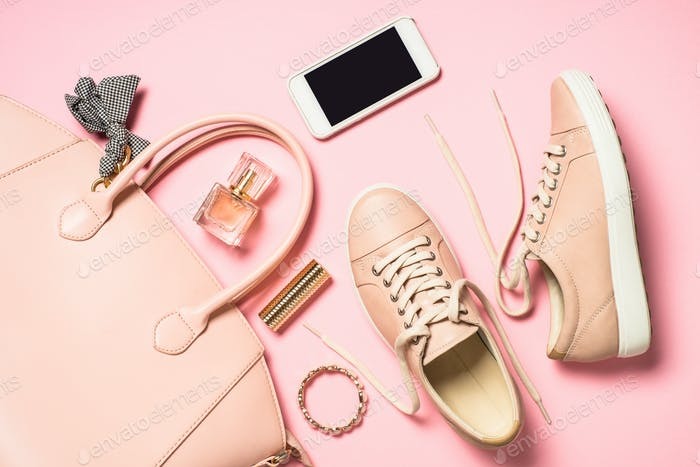 Woman flat lay background on pink