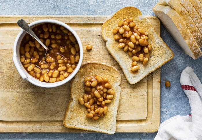 Baked beans on toast easy breakfast food photography