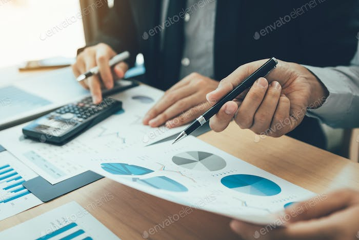 Manager calculates about the company finances by pressing.