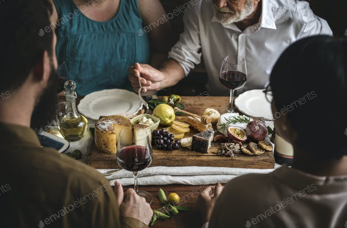 People enjoying a cheese platter food photography recipe idea