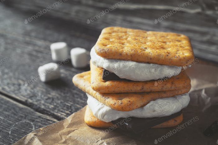 Smores on the wooden table horizontal