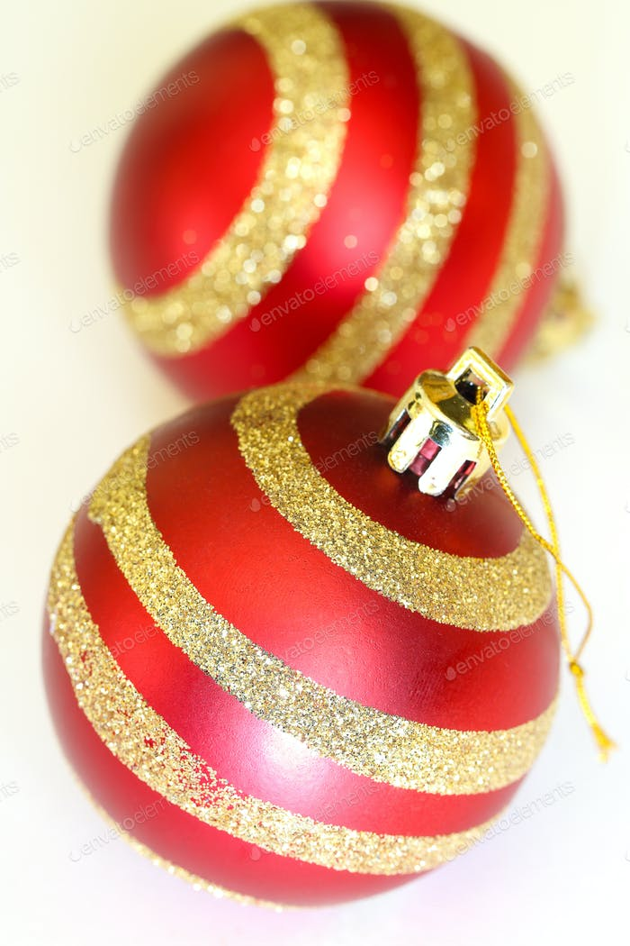 two christmas decoration balls