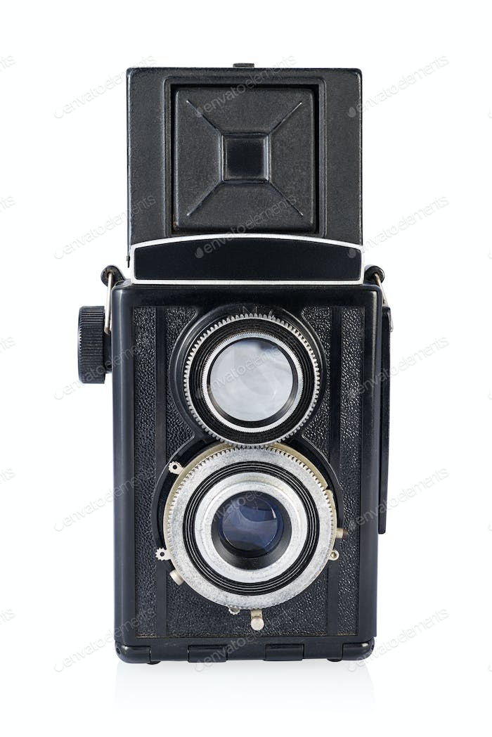 Twin-lens medium format camera isolated on the white.