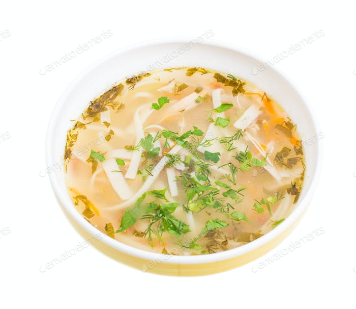 Traditional moldovan chicken soup with noodles.