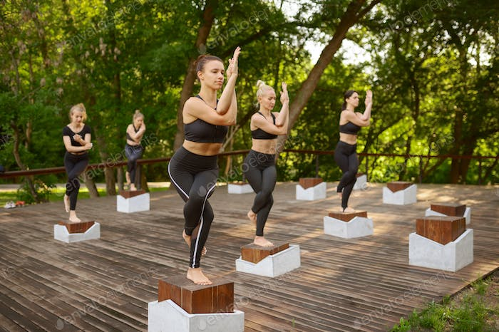 Slim women doing balance exercise, group yoga