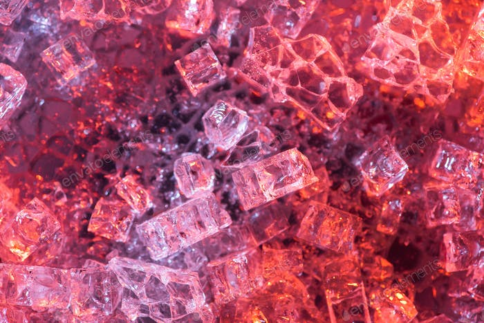 top view of abstract red and purple ice textured background