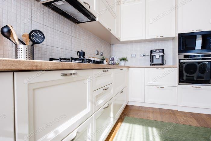 New kitchen interior, modern design and furniture