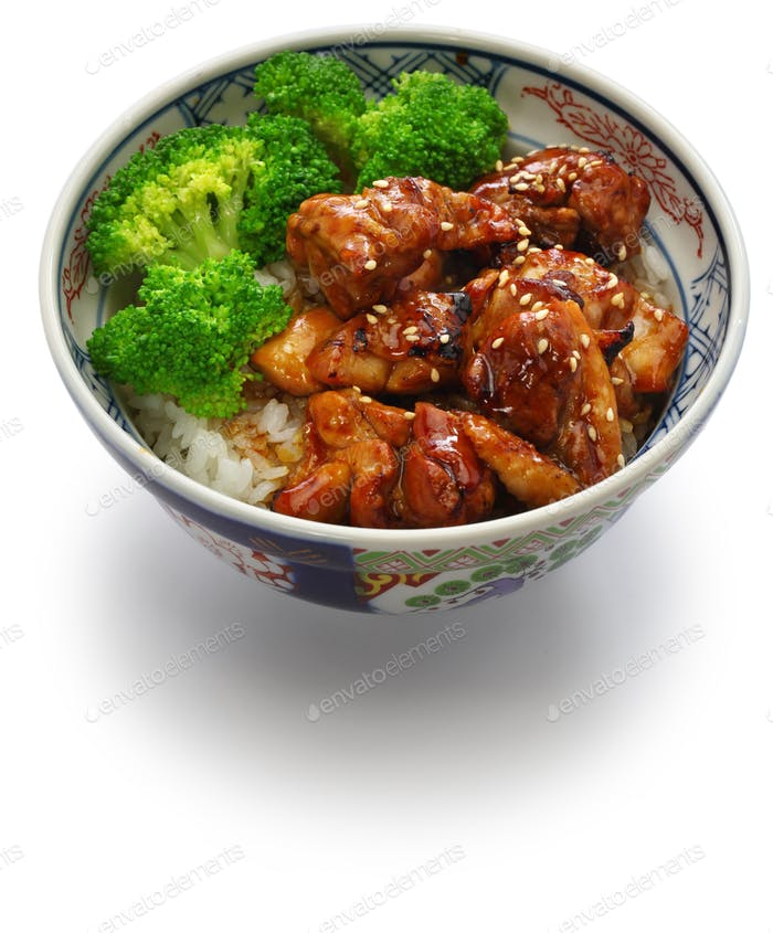 teriyaki chicken rice bowl, japanese food