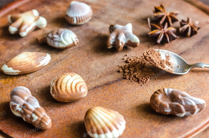Luxury chocolate candies in the form of seafood
