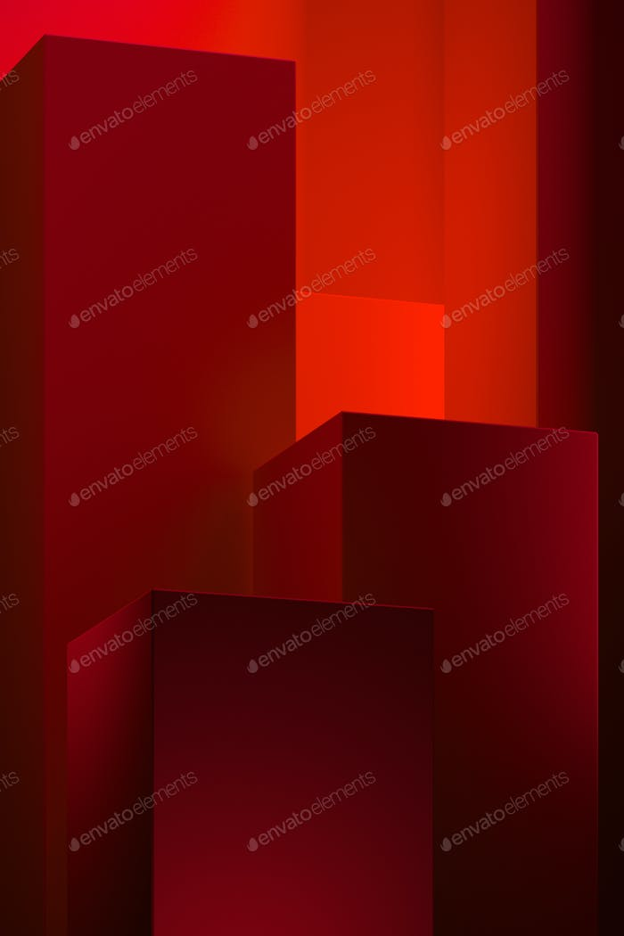 3D rendering Pedestal for display ,Platform for design, Blank epic abstract red product stand with