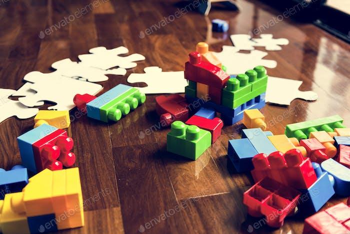 Kid toys on wooden floor