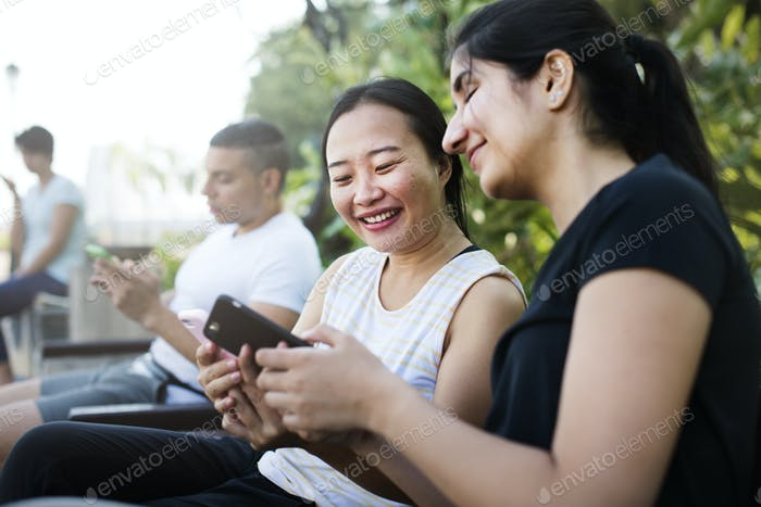 People using mobile phone