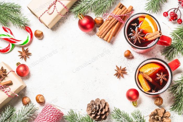 Christmas frame with christmas decorations.
