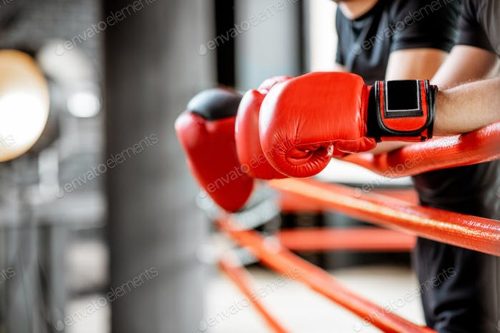 Boxing gloves on the ropes