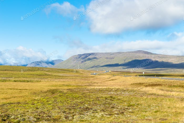landscape with road in Iceland in sunny day