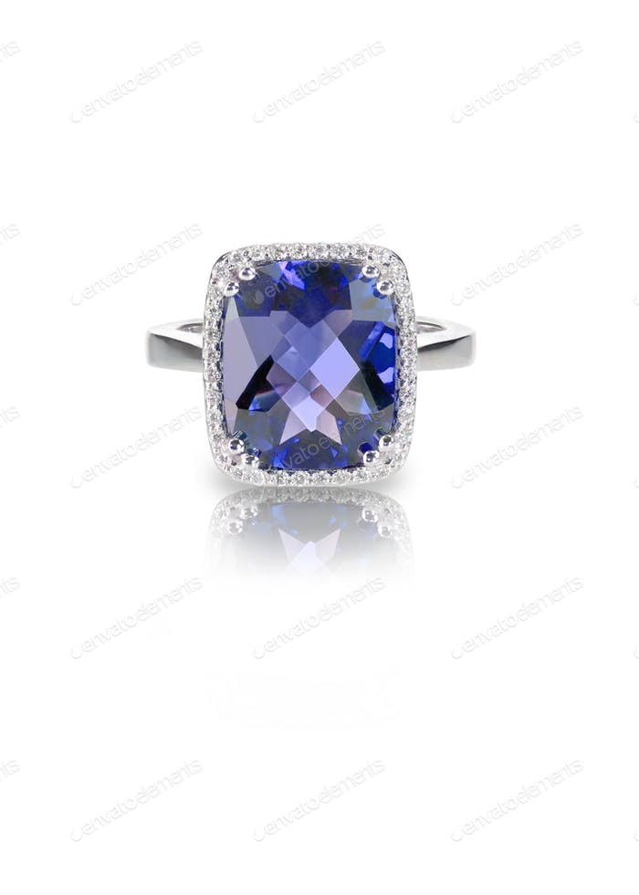 Beautiful blue purple sapphire and diamond wedding engagement ring