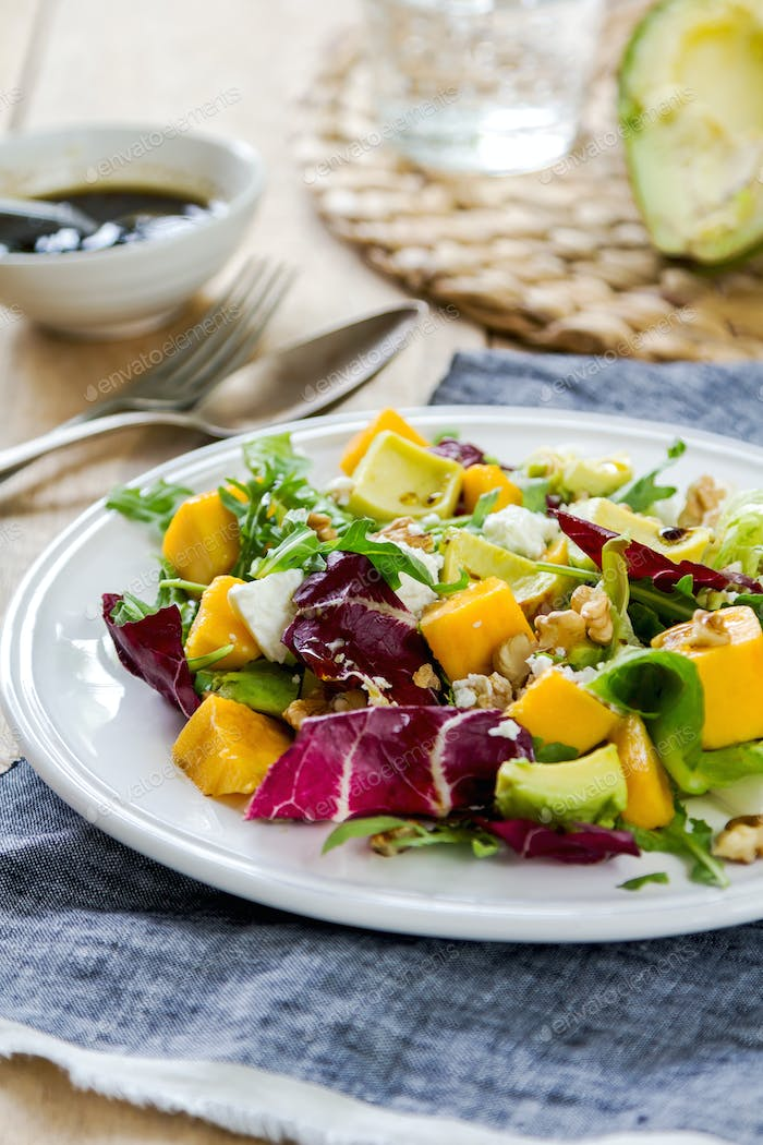 Avocado with Mango,Rocket and Walnut salad