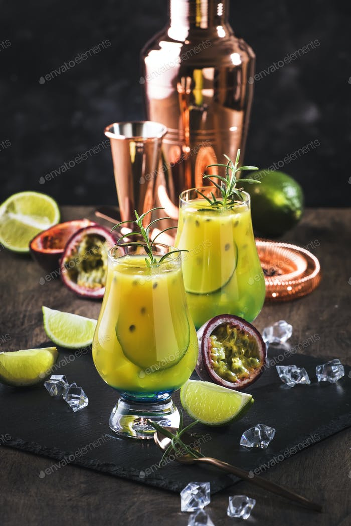 passion fruit, lime and rosemary cocktail