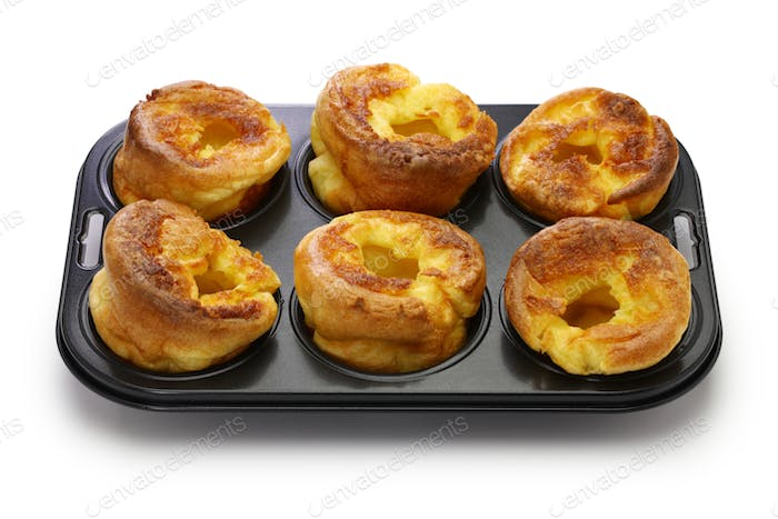 homemade freshly Yorkshire puddings, traditional British side dish