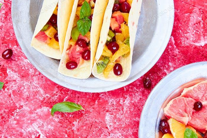 Fruit tacos. Summer snacks.