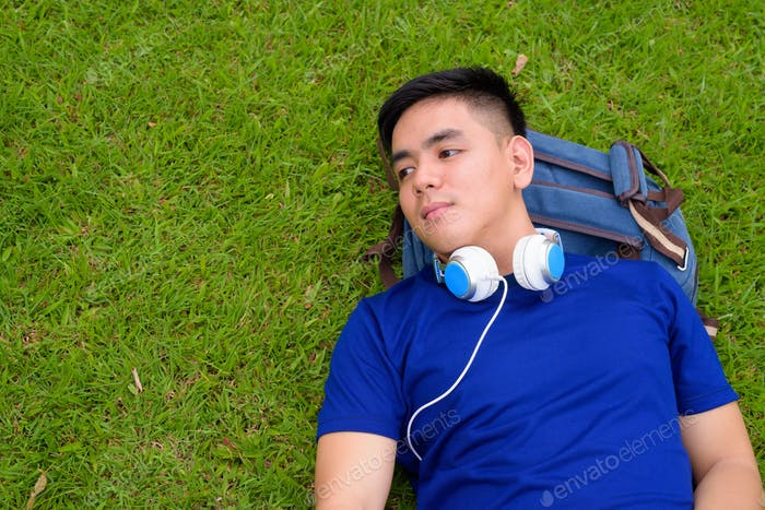 Young handsome Asian man relaxing at the park with headphones