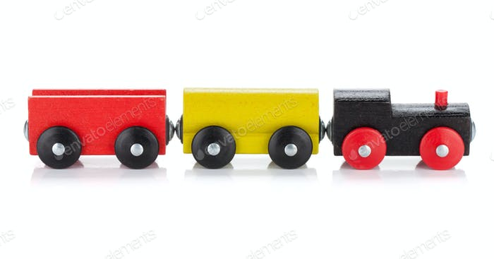Wooden toy colored train