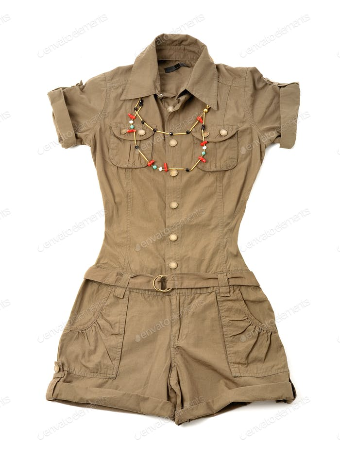 Khaki green safari playsuit with ethnic beaded necklace