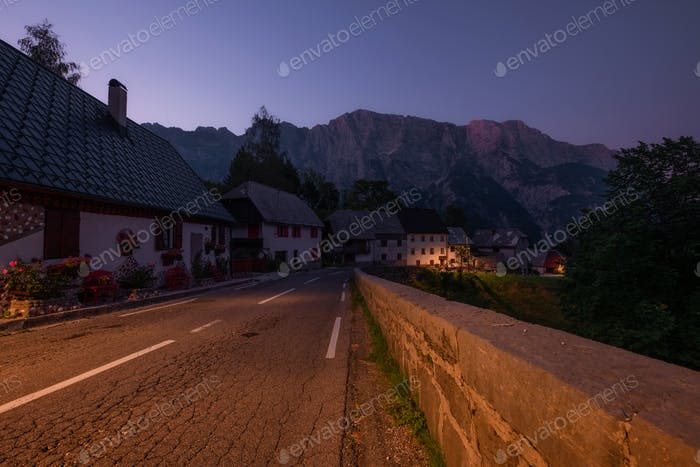 A village in the mountain at dusk