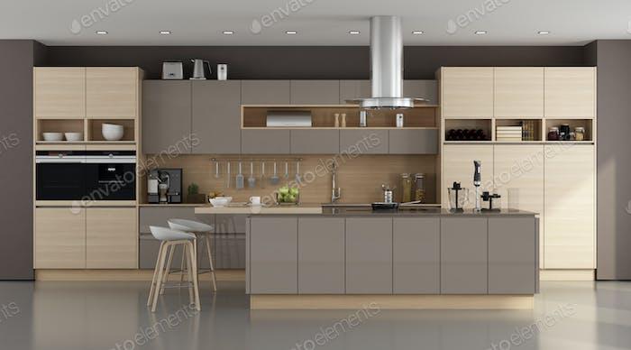 Wooden and brown modern kitchen
