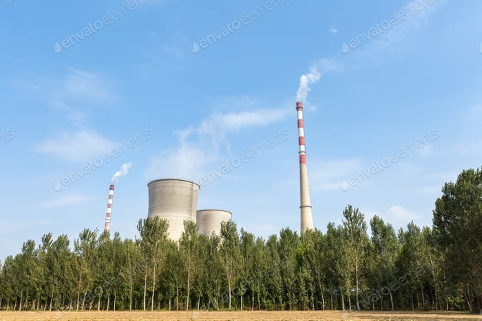thermal power plant and trees