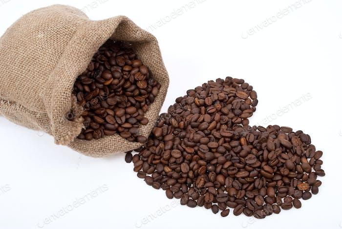 Sackleinen Sack mit Kaffeeherz