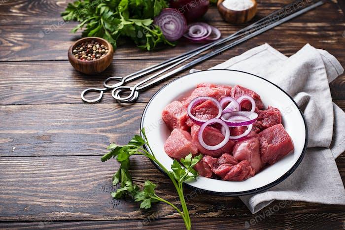 Ingredients for cooking shish kebab or shashlik