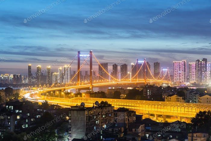 wuhan yingwuzhou yangtze river bridge at night