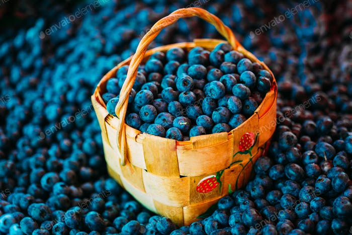 Fresh Fruit Organic Berry Blueberries In Wicker Basket