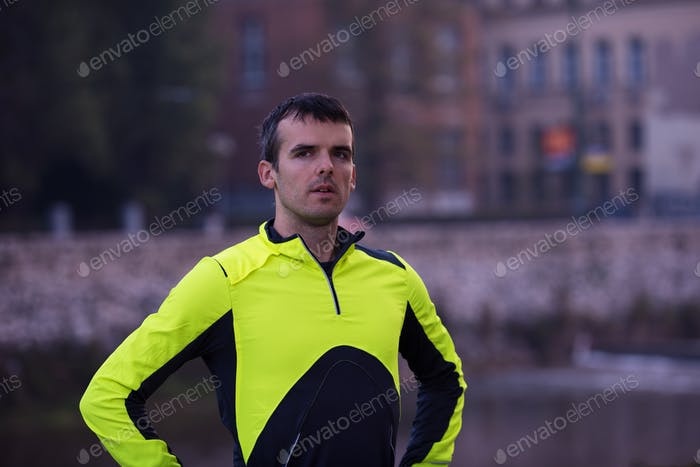 jogging man portrait