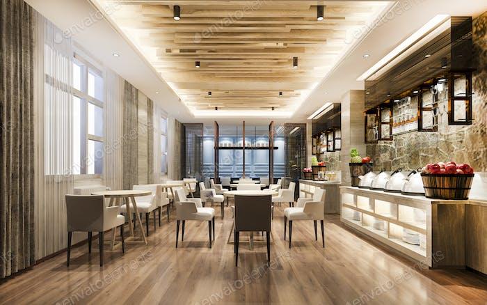 3D рендеринг хороший ресторан с элегантным украшением