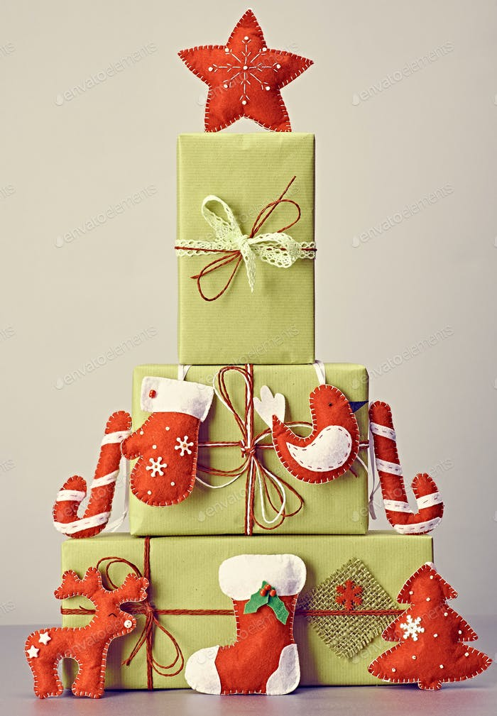 Gift boxes handcraft stack,like fir tree.Christmas