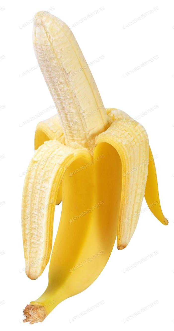 half peeled banana isolated