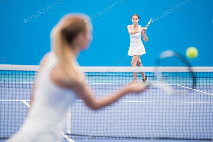 Competitive Tennis Match