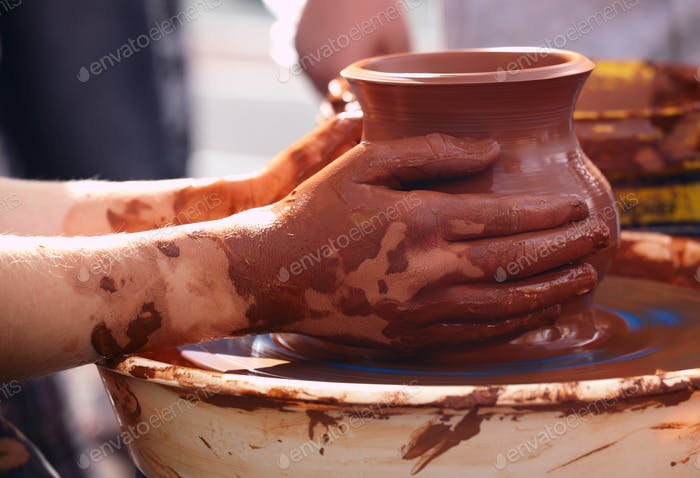 Potter making the pot in traditional style