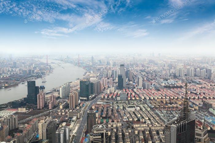 overlooking metropolis of shanghai