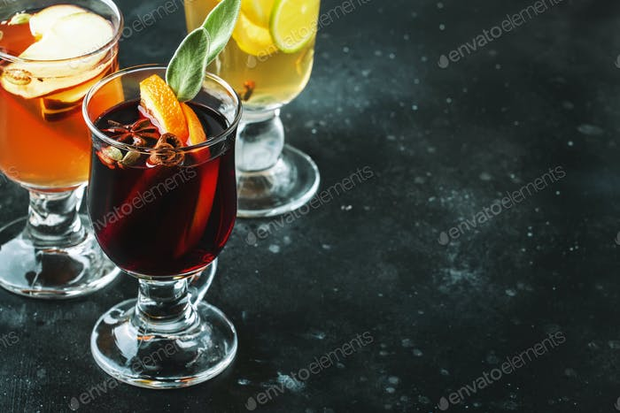 Mulled wine from red and white wine and hot mulled cider