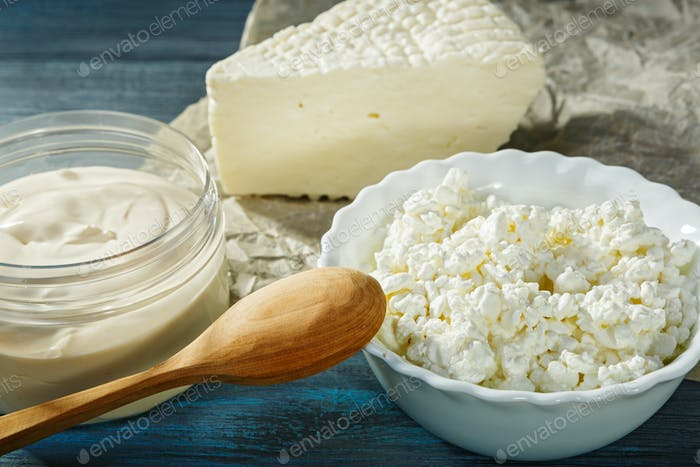 Curd, cheese and sour cream