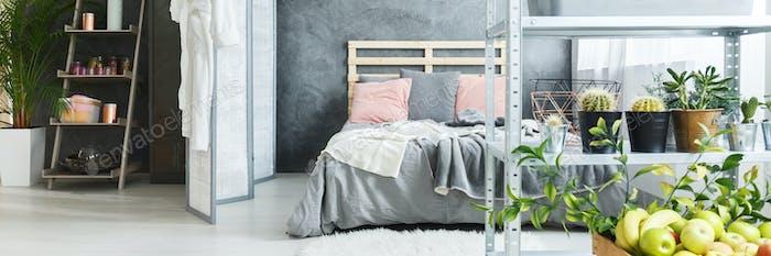 Bed in modern loft