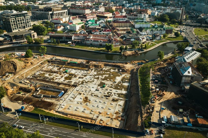 Baustelle in der alten Stadt.Bau im Zentrum von Minsk.Minsk Baustelle